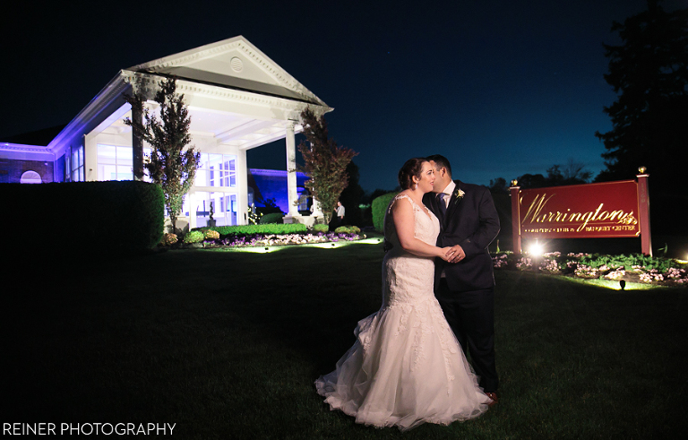 Wedding Bride And Groom In Front Of Warrington Country Club At Night